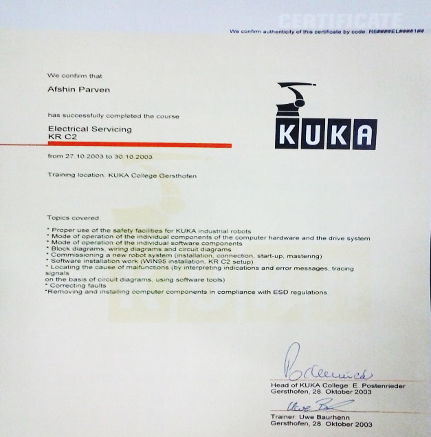 گواهینامه تخصصی از شرکت رباتیک KUKA آلمان