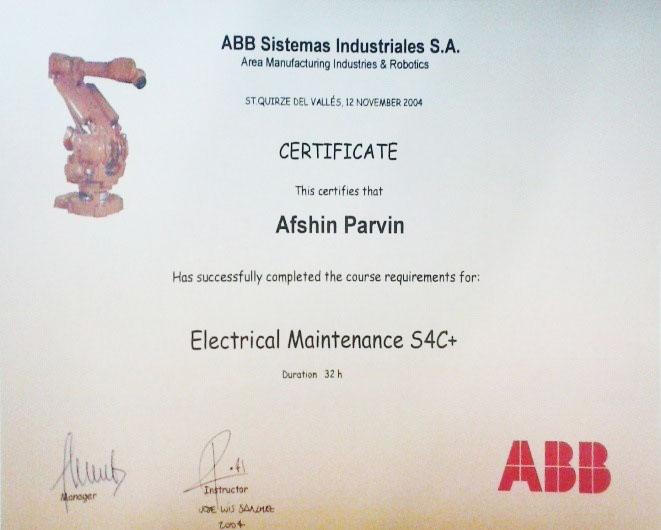 گواهینامه تخصصی از شرکت ABB اسپانیا